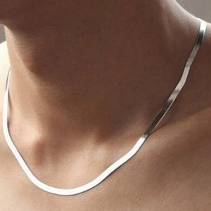 *New 925 Sterling Silver Herringbone Necklace
